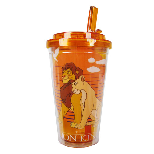 Lion King Simba and Nala Yellow 16 oz. Flip-Straw Plastic Travel Cup