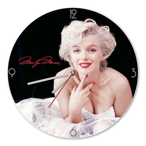 Marilyn Monroe 13 1/2-Inch Cordless Wood Wall Clock