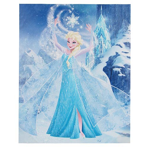 Disney Frozen Snow Queen Elsa Crystals with Castle and Mountain Stretched Canvas Print