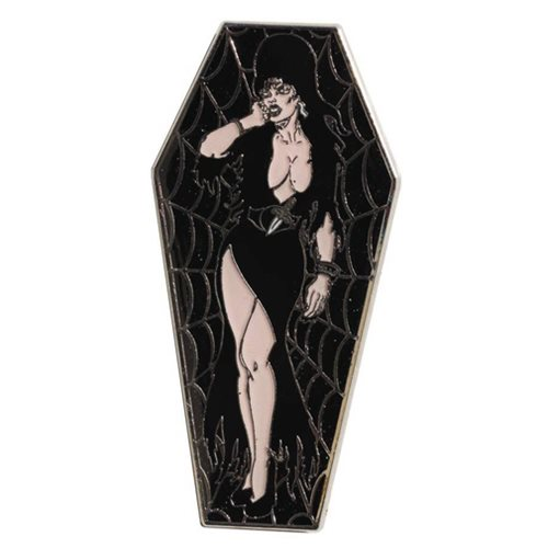 Elvira Black Coffin Lapel Pin
