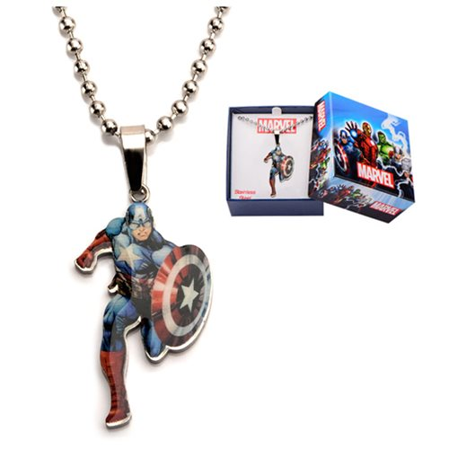 Captain America Stainless Steel Cut Out Pendant Necklace