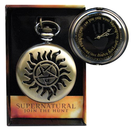 Supernatural Goldtone Anti-Possession Pentagram Symbol Pocket Watch