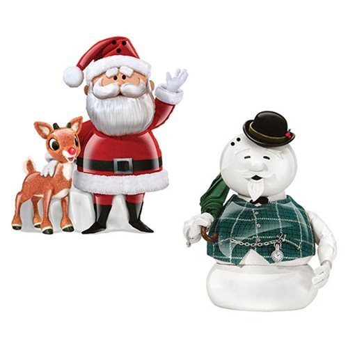 Rudolph Santa and Sam the Snowman Sculpted Ceramic Salt and Pepper Set