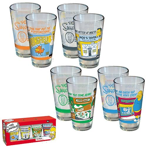 Simpsons Greetings from Springfield Pint Glasses 4-Pack