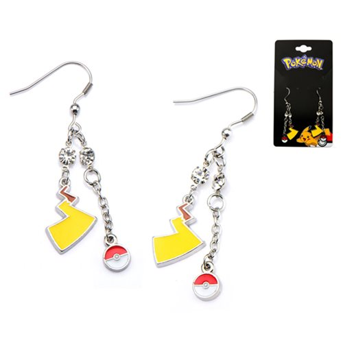 Pokemon Poke Ball and Lightning Bolt Dangle Stainless Steel Earrings