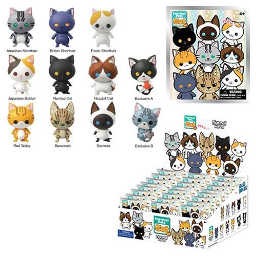 Cats 3-D Figural Key Chain Random 6-Pack