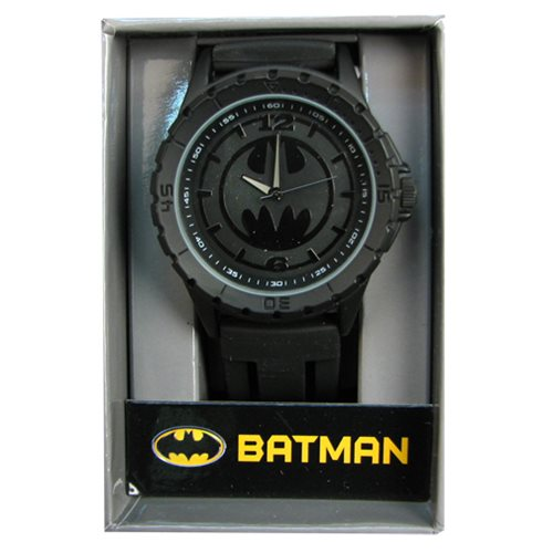 Batman Black Logo Rubber Strap Watch