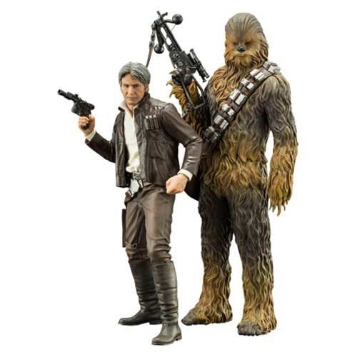 Star Wars The Force Awakens Han Solo and Chewbacca ArtFX+ 2-Pack Statue