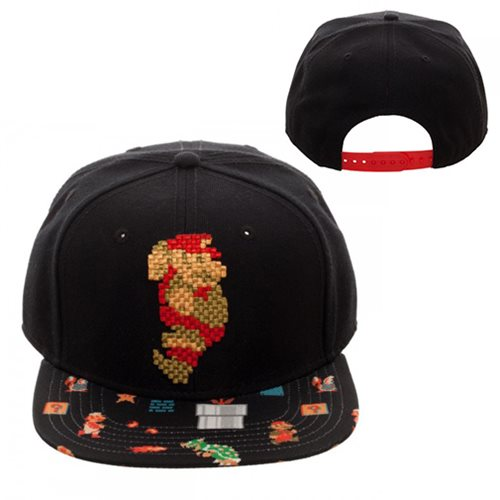 Super Mario Bros. Mario 8-Bit Sublimated Bill Snapback Hat