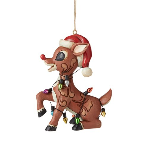 Rudolph the Red-Nosed Reindeer Rudolph Wrapped in Lights Ornament by Jim Shore
