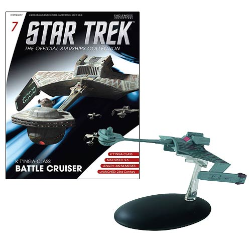 Star Trek Starships Klingon Ktinga-Class Battle Cruiser Vehicle with Collector Magazine
