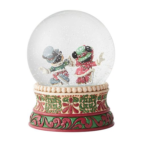 Disney Traditions Mickey Mouse and Minnie Mouse Skating Splendid Skaters by Jim Shore Snow Globe
