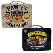 Paw Patrol Large Carry All Embossed Tin Tote Lunch Box Set
