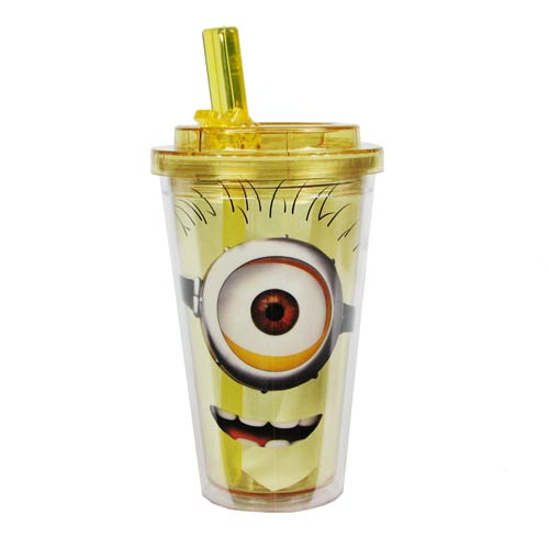 Despicable Me Happy One Eye Minion Plastic 16 oz. Flip-Straw Travel Cup