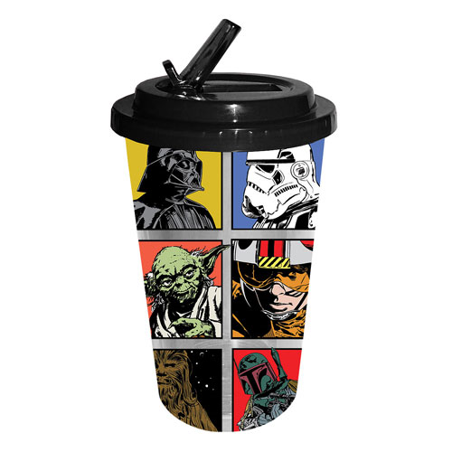 Star Wars Cartoon Grid 16 oz. Flip-Straw Travel Cup