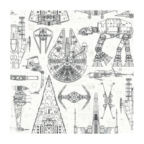 Star Wars Vehicle Blueprint Peel and Stick Giant Wall Decals