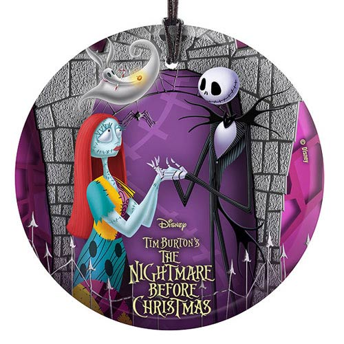 nightmare before christmas jack sally and zero starfire prints hanging glass print - The Nightmare Before Christmas Jack And Sally