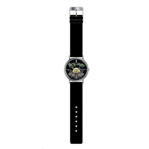 Rick and Morty Black Leather Strap Watch