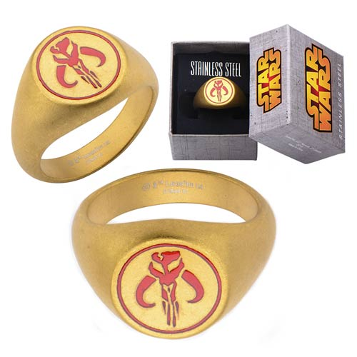 Star Wars Mandalorian Symbol Stainless Steel Matte Gold Ring