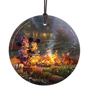 Mickey Mouse and Minnie Mouse Sweetheart Campfire Thomas Kinkade StarFire Prints Hanging Glass Print