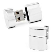 WiFi Hotspot and 2 GB USB Flash Drive Silver Oval Cufflinks