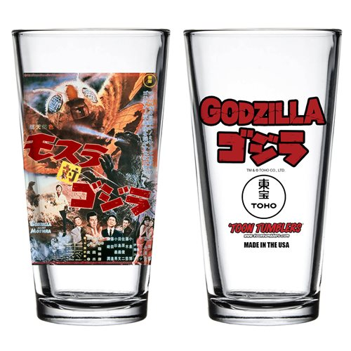 Godzilla vs The Thing 1964 Movie Poster Toon Tumbler Pint Glass