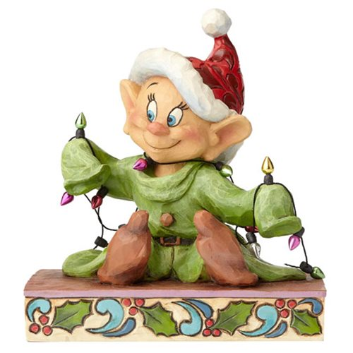Disney Traditions Snow White Dopey with Christmas Lights Light Up the Holidays Statue