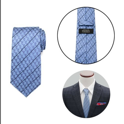 Star Wars Stormtrooper Blue Modern Stripe Mens Tie