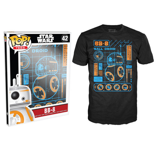 Star Wars: Episode VII - The Force Awakens BB-8 Blueprint Black Pop! T-Shirt