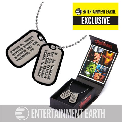 Captain America Steven Rogers Dog Tags Necklace Replica - Entertainment Earth Exclusive