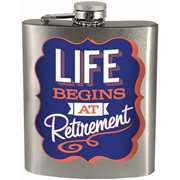 Life Begins At Retirement Hip Flask