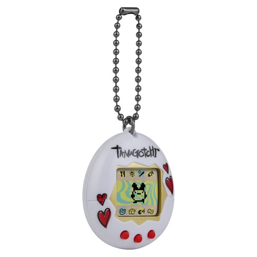 Tamagotchi Classic White Shell Red Hearts Digital Pet