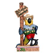 Margaritaville Parrot by Sign Post It's 5:00 Here Heartwood Creek Statue by Jim Shore