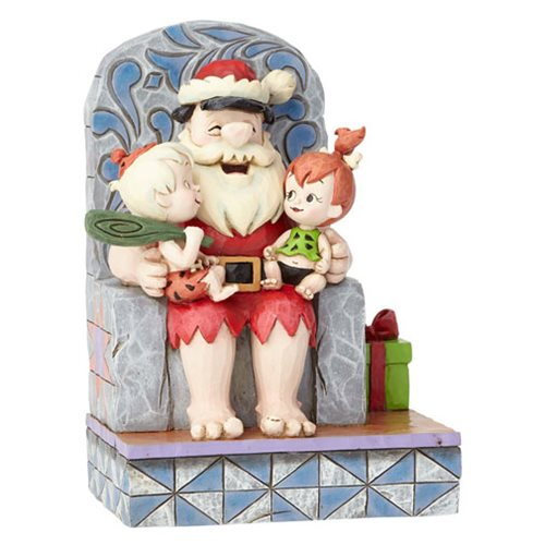 Flintstones Hanna Barbera by Jim Shore Santa Fred with Pebbles and Bamm-Bamm Stone Age Santa Statue