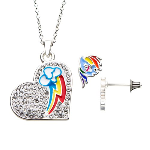 My Little Pony Rainbow Dash Heart Necklace Earring Set