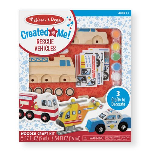 Melissa & Doug Created by Me! Rescue Vehicles Wooden Craft Kit