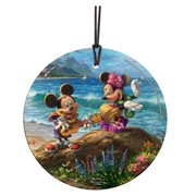 Mickey and Minnie in Hawaii Thomas Kinkade Starfire Prints Hanging Glass Print