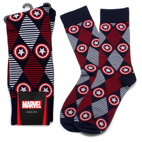 Captain America Navy Argyle Stripe Socks