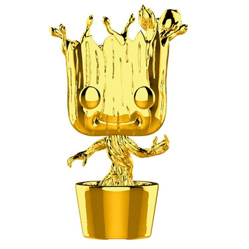Marvel Studio's 10th Anniversary Guardians of the Galaxy Chrome Dancing Groot Pop! Vinyl Figure #378, Not Mint