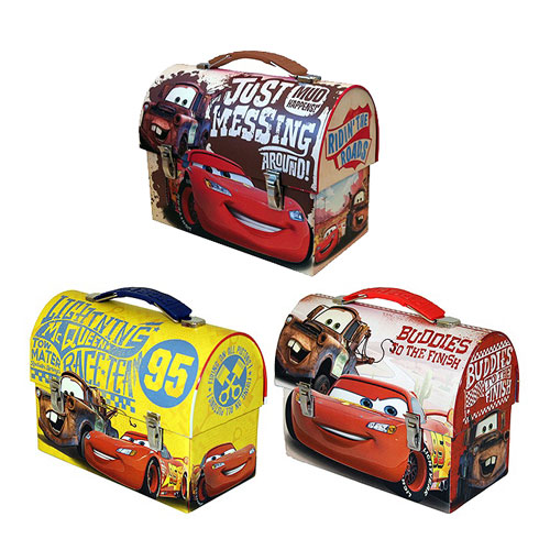 Cars Large Workman Carry All Tin Tote Lunch Box Set