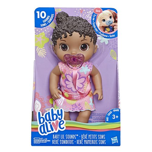 Baby Alive Baby Lil Sounds Interactive Black Hair Baby Doll