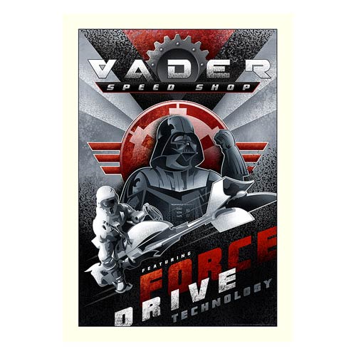 Star Wars Vader Speed Shop Paper Giclee Print