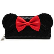 Minnie Mouse Black Sequin Zip-Around Wallet