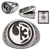 Star Wars Rogue One Rebel Alliance and Galactic Empire Symbol Stainless Steel Ring