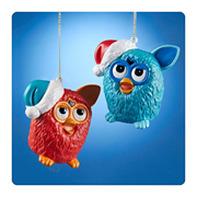 Furby Blue and Red Figural Blow Mold Ornament Set