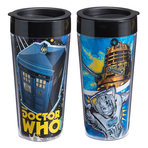 Doctor Who Comic Book 16 oz. Plastic Travel Mug