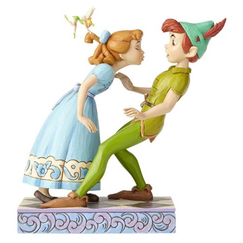 Disney Traditions Peter Pan, Wendy, and Tinker Bell An Unexpected Kiss by Jim Shore Statue
