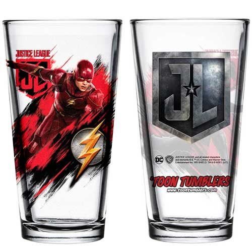 Justice League Movie Flash Toon Tumbler Pint Glass