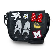 Minnie Mouse Patches Black Crossbody Purse