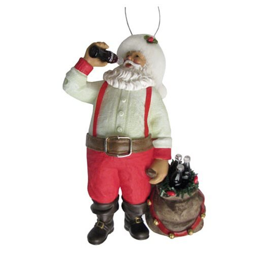 Coca-Cola Santa Drinking Coke with Sack and Bottles Ornament